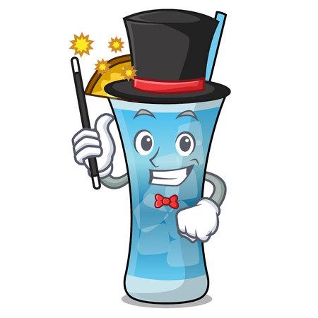 Magician blue hawaii mascot cartoon vector illustration