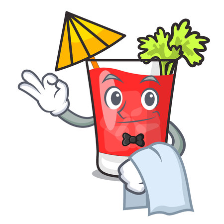 Waiter bloody mary mascot cartoon vector illustration Illustration