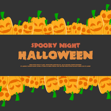 Halloween night party greeting card vector illustration