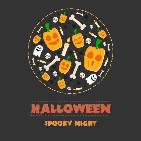 Halloween night party banner pumpskin vector illustration Illustration