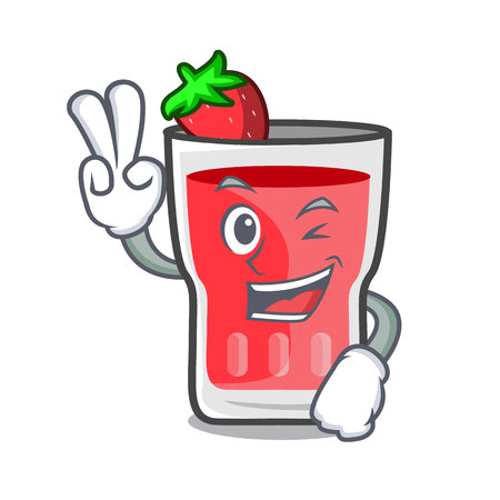 Two finger strawberry mojito character cartoon vector illustration  イラスト・ベクター素材