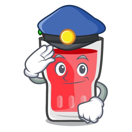Police strawberry mojito character cartoon vector illustration