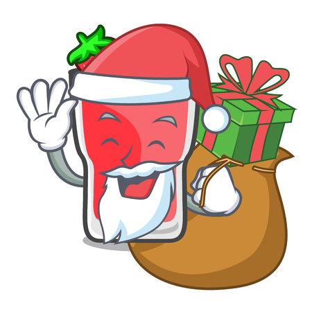 Santa with gift strawberry mojito mascot cartoon vector illustration 矢量图像