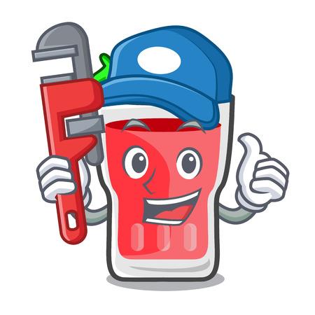 Plumber strawberry mojito mascot cartoon vector illustration