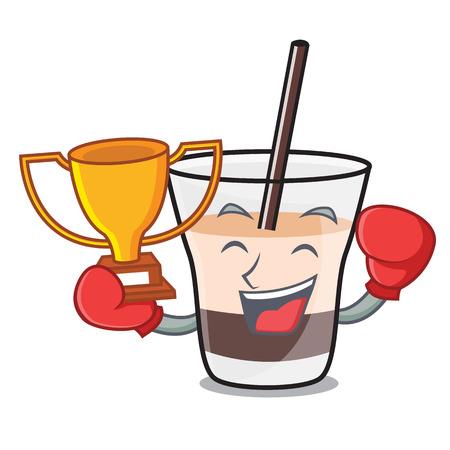 Boxing winner white russian mascot cartoon vector illustration