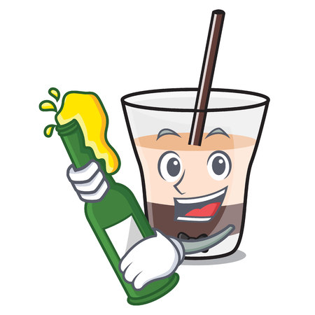 With beer white russian mascot cartoon vector illustration 일러스트