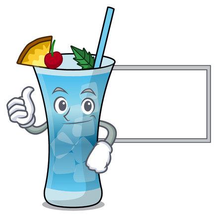 Thumbs up with board blue hawaii character cartoon vector illustration