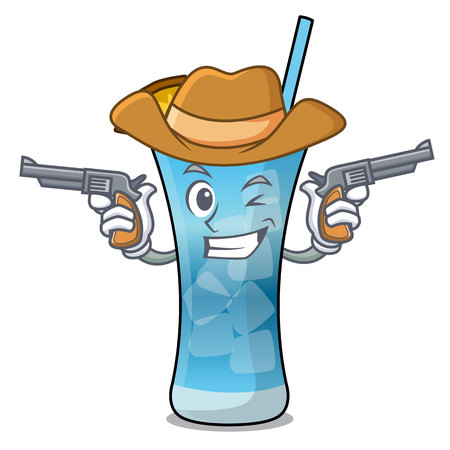 Cowboy blue hawaii character cartoon vector illustration Illustration