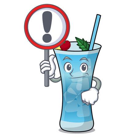 With sign blue hawaii character cartoon vector illustration Illustration