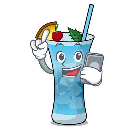 With phone blue hawaii character cartoon vector illustration Stock Illustratie