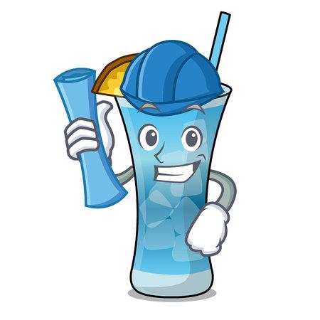 Architect blue hawaii character cartoon vector illustration