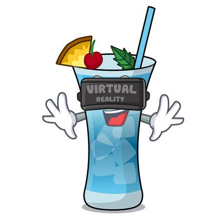 Virtual reality blue hawaii mascot cartoon vector illustration