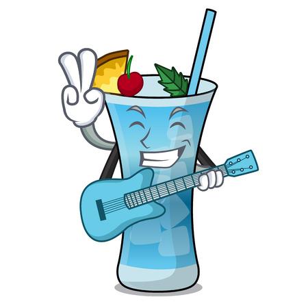 With guitar blue hawaii mascot cartoon vector illustration