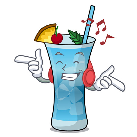 Listening music blue hawaii mascot cartoon vector illustration