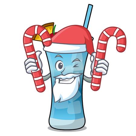 Santa with candy blue hawaii mascot cartoon vector illustration