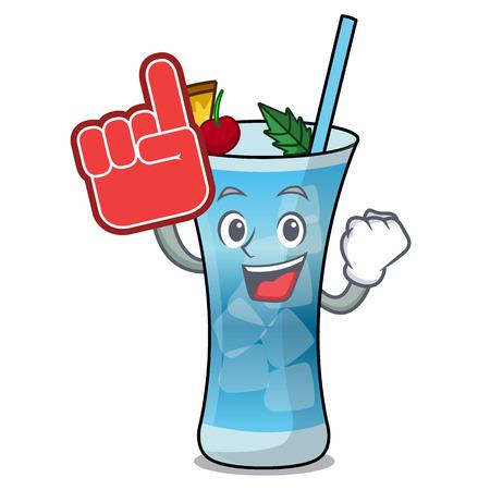 Foam finger blue hawaii mascot cartoon vector illustration
