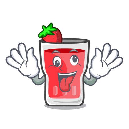 Crazy strawberry mojito mascot cartoon vector illustration Vektorové ilustrace