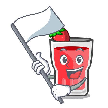 With flag strawberry mojito mascot cartoon vector illustration