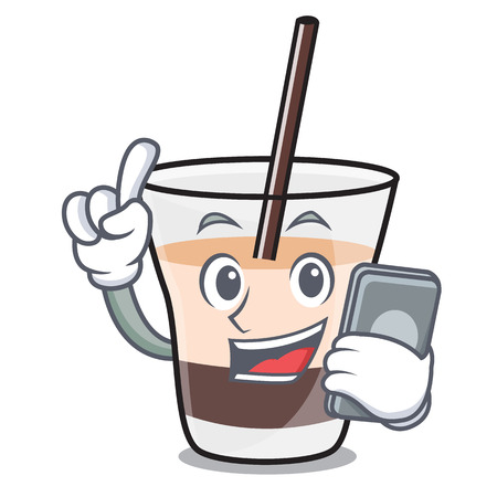 With phone white russian character cartoon vector illustration
