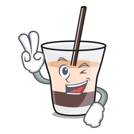Two finger white russian character cartoon vector illustration 向量圖像