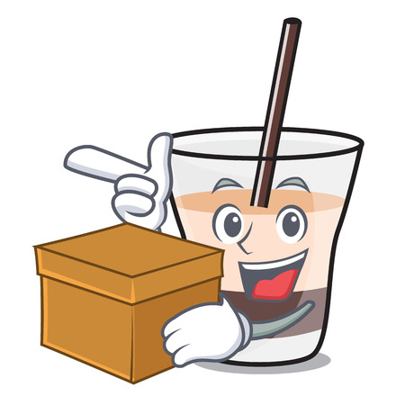 With box white russian character cartoon vector illustration