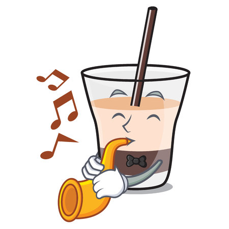 With trumpet white russian mascot cartoon vector illustration