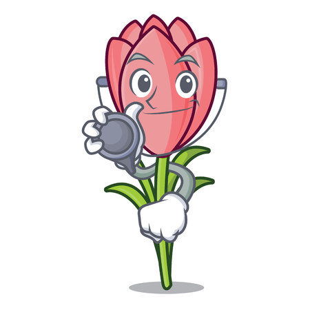Doctor crocus flower character cartoon vector illustration