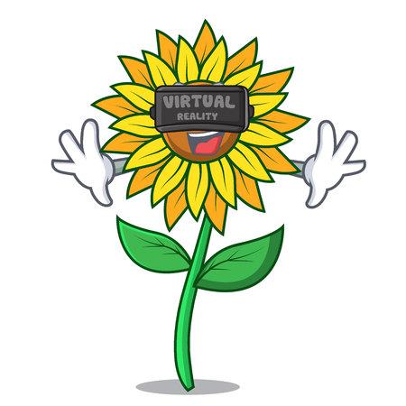 Virtual reality sunflower mascot cartoon style vector illustration