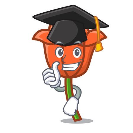 Graduation poppy flower character cartoon vector illustration 矢量图像