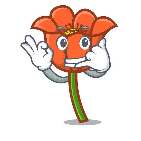 Call me poppy flower mascot cartoon vector illustration