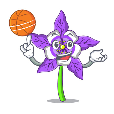 With basketball columbine flower character cartoon vector illustration