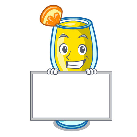 Grinning with board mimosa character cartoon style vector illustration