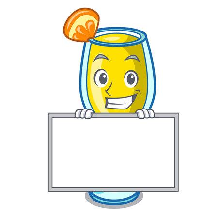 Grijnzend met bord mimosa karakter cartoon stijl vectorillustratie