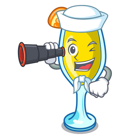 Sailor with binocular mimosa mascot cartoon style vector illustration