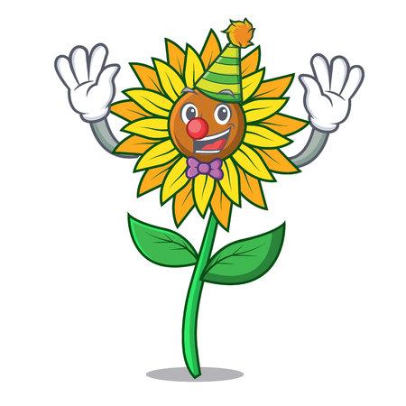 Payaso girasol mascota estilo de dibujos animados ilustración vectorial