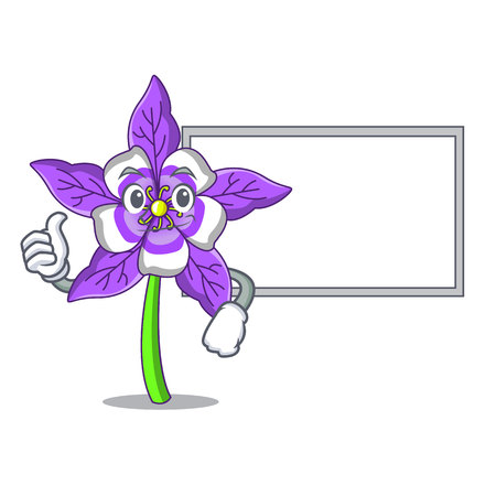 Thumbs up with board columbine flower character cartoon vector illustration Иллюстрация