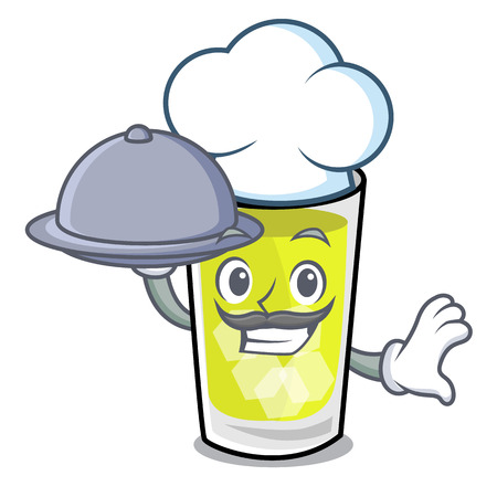Chef with food mint julep mascot cartoon vector ilustration Ilustrace