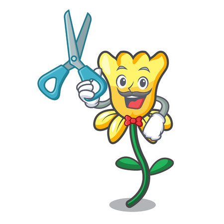 Barber daffodil flower character cartoon vector illustration