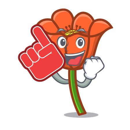 Foam finger poppy flower mascot cartoon vector illustration 矢量图像
