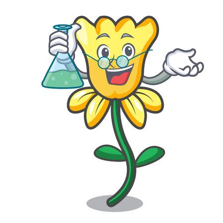 Professor daffodil flower character cartoon vector illustration