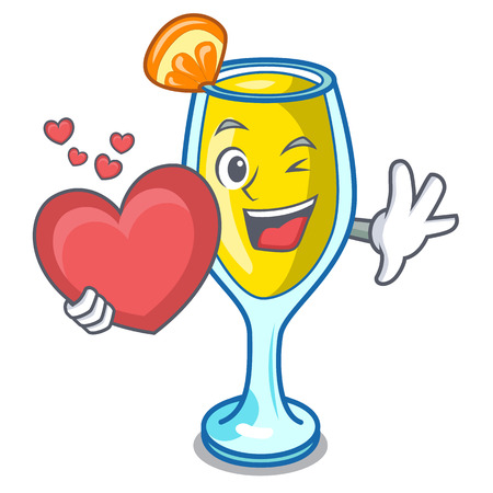 With heart mimosa mascot cartoon style vector illustration