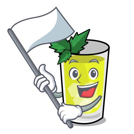 With flag mint julep mascot cartoon vector ilustration Ilustrace