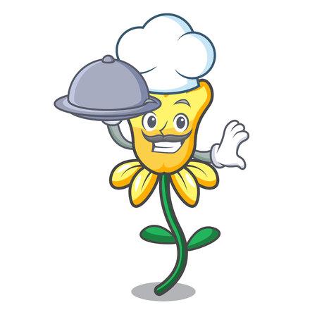 Chef with food daffodil flower mascot cartoon vector illustration Illustration