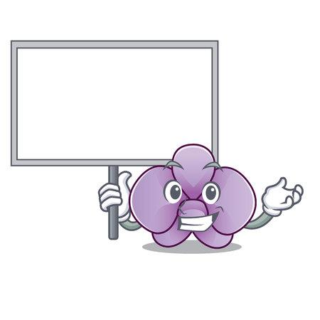 Bring board orchid flower character cartoon vector illustration