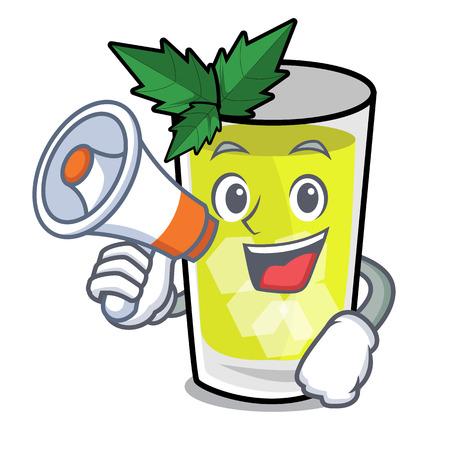 With megaphone mint julep character cartoon vector ilustration Illustration