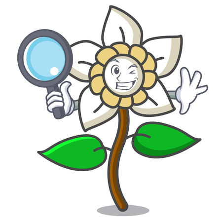 Detective jasmine flower character cartoon vector illustration