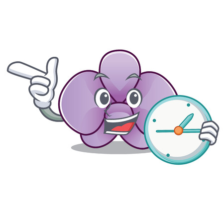 With clock orchid flower character cartoon vector illustration
