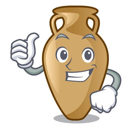Thumbs up amphora character cartoon style vector illustration 일러스트