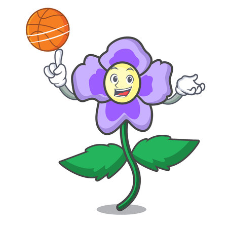 With basketball pansy flower character cartoon vector illustration