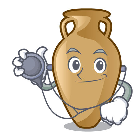 Doctor amphora character cartoon style vector illustration Illusztráció